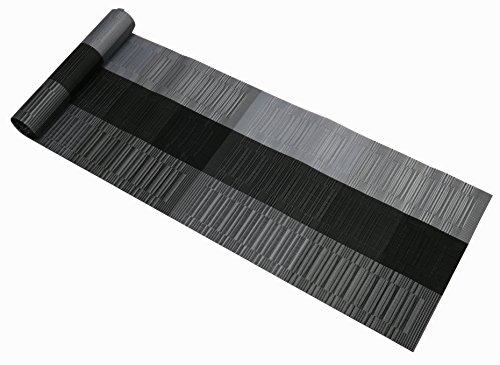 Famibay runner lavabile in vinile runner da tavola per tavolo da cucina antiscivolo PVC/poliestere nero 135cm