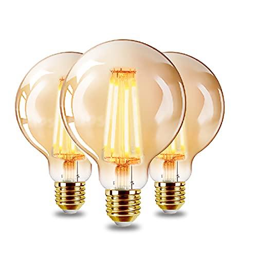 EXTRASTAR Ampoules LED Edison Vintage G95 E27, 6W, Blanc Chaud 2200K, Ampoule Rétro à Filament, Equivalent à Ampoule Incandescente 48W, Non-Dimmable, Lot de 3.