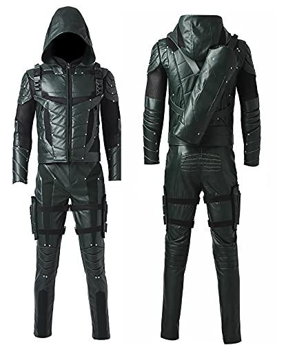 Green Arrow S5 Oliver Queen Stephen Amell - Pantalones de piel con capucha