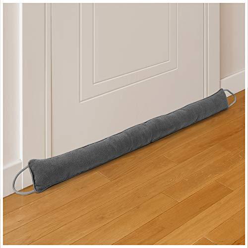 """Tuffen Door Draft Stopper 37"""", Weighted Under Door Noise Air Blocker, Heavy Duty Sound Proof Draft Guard Door Gap Blocker with Hook Tape for Doors and Windows, 2.3lbs (Grey)"""