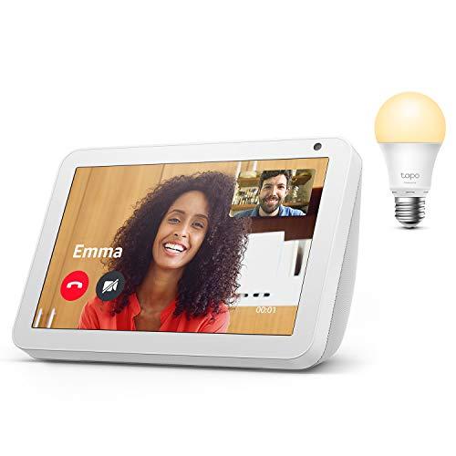 Echo Show 8, Tissu sable + TP-Link Tapo Ampoule Connectée (E27), Fonctionne avec Alexa