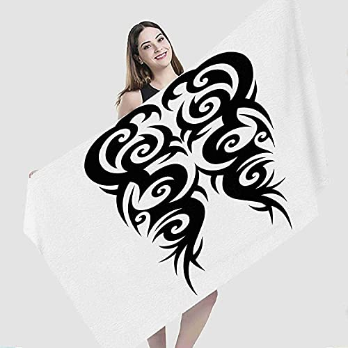 Abstract Beach Towel,Tattoo Tribal Abstract Arm Art Background Black Celtic Chest,Microfiber Super Absorbent Beach Blanket for Travel Beach Camping Swimming Outdoor Towel Mat,27'x55'