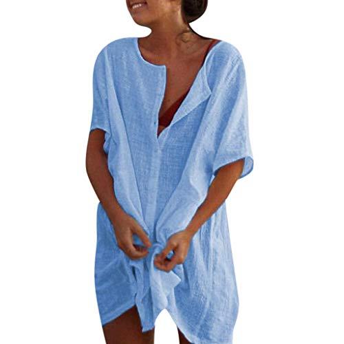 POachers Robe ete Femme-Chemisier Femme Manches Longues Robe T-Shirt Blouse Grande Taille Lin Bouton Col en v Chemise Tunique Couleur Unie Boho Robe