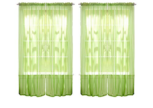 """55"""" inch x 84"""" inch Sheer Curtains Window Voile Panels, Set of 4 (Lime Green)"""
