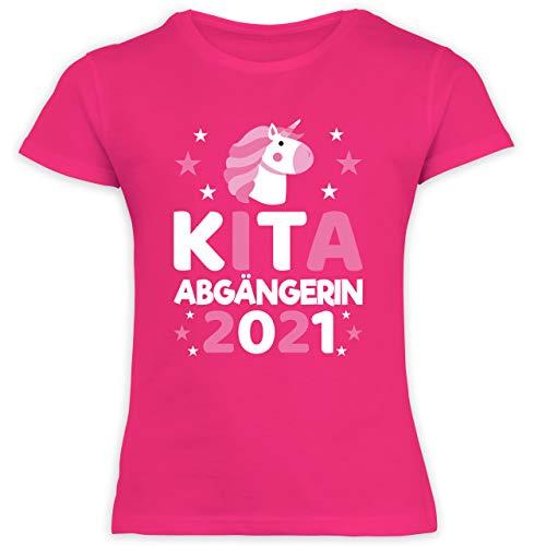Einschulung und Schulanfang - Kita Abgängerin 2021 rosa Einhorn Sterne - 128 (7/8 Jahre) - Fuchsia - mädchen t-Shirt Schule - F131K Schulanfang - Schulanfang Mädchen T-Shirt Kinder
