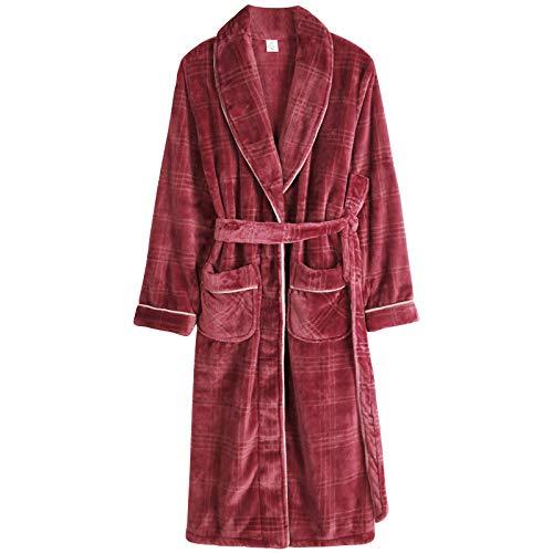 DFDLNL Parejas Kimono Casual Albornoz Otoo Invierno Franela Bata Larga Ropa de Dormir Gruesa y clida Camisn Hombre Ropa de hogar Suelta XXXL LX-98189