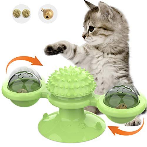 VavoPaw Giocattolo per Gatto Mulino a Vento Rotante, Giocattoli Interattivi per Gatto con Palla di Rotazione Catnip e Campane, Giochi Ventosa Multifunzionali per Gatti Addestramento Massaggio - Verde
