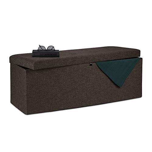 Relaxdays Sitzbank, faltbar, gepolstert, Klappdeckel, Kommode, Trennwand, 120 l, Schlafzimmerständer, braun, MDF-Platten, Material, Schaumstoff, One Item