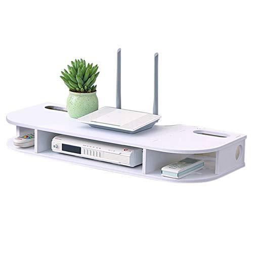 ESGT Floating Media Console, 2-stufige Wandmontierte TV-Konsole Floating TV-Regal Für Kabelboxen Router Fernbedienungen DVD-Player Spielekonsolen