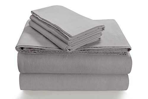 Tribeca Living SOLFL170SSQUSG Solid 5-Ounce Flannel Extra Deep Pocket Sheet Set Queen Silver Grey