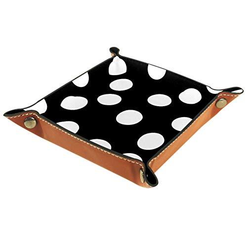 Plateau de rangement en cuir pour femme - Pour bijoux, maquillage - Moderne - Blanc à pois noirs