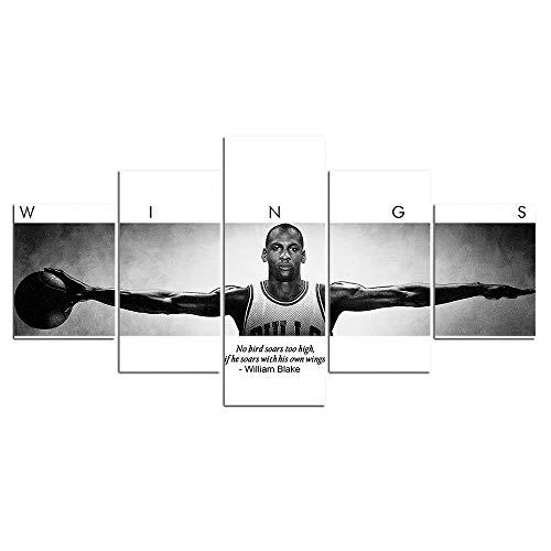 PANPAN 5 Team Basketballspieler Michael Jordan Wings Inspirierende Zitate Malen Leinwand HD-Druck Wandkunst Sportplakat