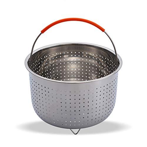 KKAAMYND Cesta de acero inoxidable multifunción para frutas con mango de silicona, cesta para cocinar al vapor, color plateado 3Qt, ajuste perfecto: este producto está equipado con 6, 8 cuartIfor