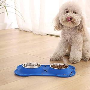 AmazonBasics Juego de base y cuencos para perro, forma de hueso, de silicona - azul 15