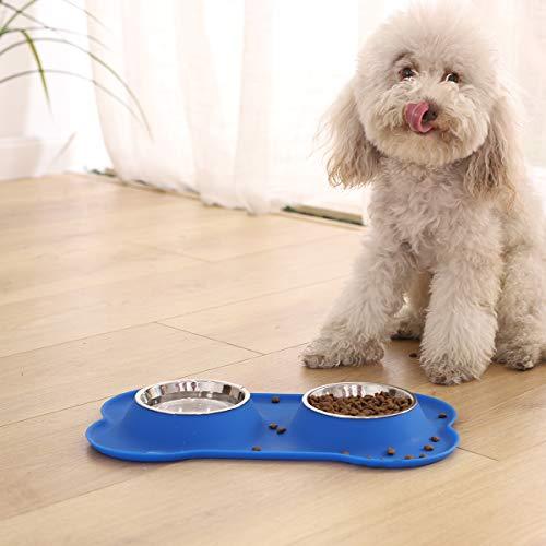 Amazon Basics - Set con due ciotole e base in silicone, a forma di osso, per animali domestici, colore: blu