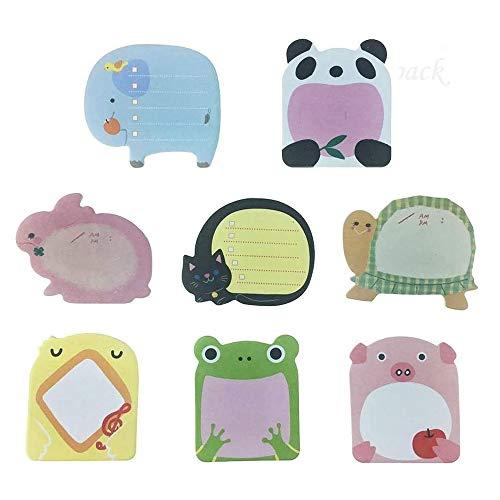 Super Sticky Notes- Zoo Animals Carino -8 Pads per confezione - 20 fogli per blocco - per confezione 8 Animali Inside-80 mm x 54 mm