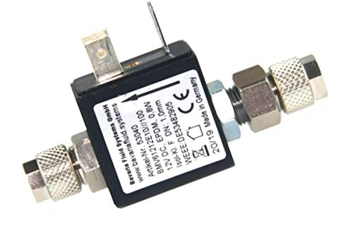 Bavaria Fluid Systems Magnetventil Nachtabschaltung 12V ohne Rückschlagventil Made in Germany (ohne Kabel und Netzteil(Stecker) mit hochwertigen Schlauchverschraubungen für 4/6mm Schlauch