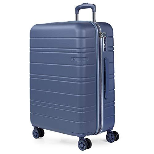 JASLEN - Maleta de Viaje Mediana 4 Ruedas Rígida Trolley ABS Extensible. Dura Práctica Cómoda Ligera y Bonita. Diseño y Calidad. Candado TSA. Interior Completo. Profesional 171260, Color Azul