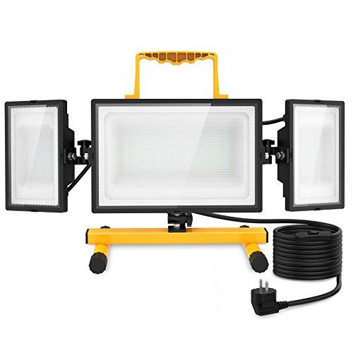 Olafus 80W LED Baustrahler mit Ständer, Arbeitsleuchte 8000LM IP65 Wasserdicht Bauscheinwerfer mit Schalter, Arbeitsscheinwerfer 6000K Tageslichtweiß Strahler Fluter für Werkstatt, Baustelle
