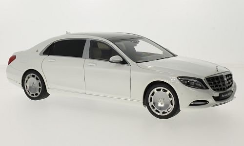 Mercedes Maybach S-classe (S600) (SWB), metallic-weiss/noire, 2015, voiture miniature, Miniature déjà montée, AutoArt 1:18