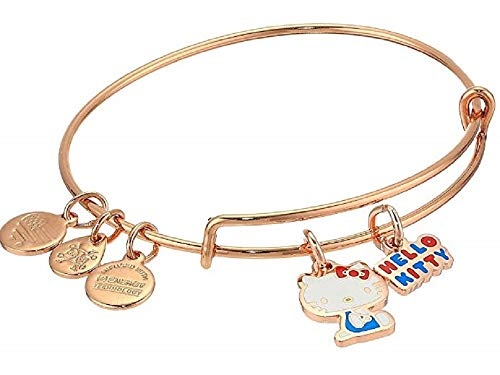 Alex and Ani Hello Kitty Duo Charm Bangle Bracelet Shiny Rose Gold One Size
