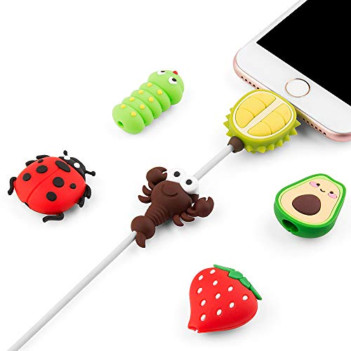 Cute Animal Bite Cable Protector for iPhone iPad Charger, SUNGUY 6 Pack USB Cable Protector, Charging Cord Protector, Cable Chomper, Fruit USB Charger Saver