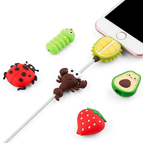 SUNGUY Protector de cable compatible con iPhone, protector de pantalla, cargador de cable, cable de animal, accesorio para el cable, 6 unidades