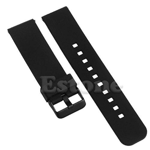 SCASTOE 22mm Colorful Silikon Uhrenarmband Band für Motorola Moto 360Smart Watch, Schwarz, 22