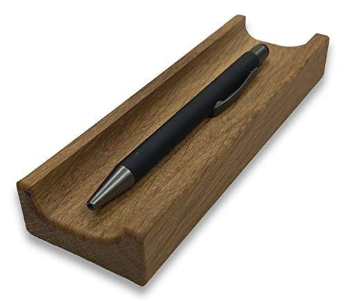 BUNBAN Edle Stiftablage aus Massivholz Stiftschale für Schreibtisch 17 x 5,5 x 2,5 cm (Eiche)