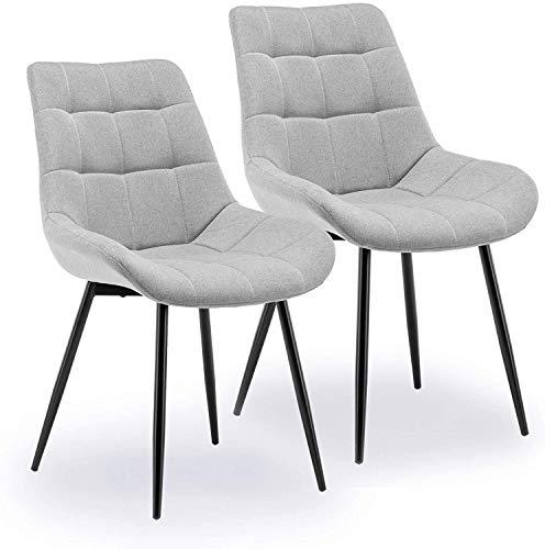 Jawneny Stuhl, Esszimmerstuhle Küchenstuhle mit Rückenlehne, Samt Sofa Polsterstuhl Gut gepolsterte Sitzfläche aus Leinen belastbar Stuhl Retro Design Stühle, 2 Stück 49 x 43 cm