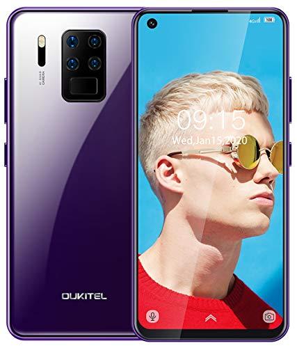 OUKITEL C18 Pro Smartphone Ohne Vertrag(Doppelseitiges Glasdesign),Dual 4G SIM Android Handy,4GB RAM+64GB ROM,4000mAh Akku,6,55 Zoll FHD,Gesichtserkennung,Fingerabdrücken(lila)