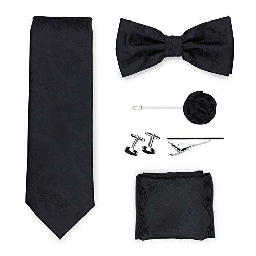 PUCCINI Exklusive Gentleman Geschenkbox mit Krawatte, Fliege, Einstecktuch, Krawattennadel, Manschettenknöpfe, Anstecknadel im klassischen Paisley-Muster (Schwarz)