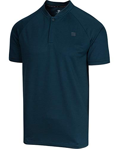 Three Sixty Six Collarless Golf Shirts for Men - Men's Casual Dry Fit Short Sleeve Polo, Lightweight and Breathable Midnight Blue