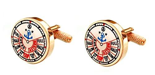 Unbekannt Manschettenknöpfe Schiffs Steuerung rosegolden farbig rd. 18 mm + Geschenkbox - schönes maritimes Accessoires für die Umschlagmanschette