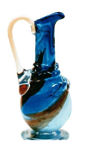 Oberstdorfer Glashütte Décoratif cruche en Verre, Vase, Pichet de Verre coloree, Souffle a la Bouche, dans Les Tons de Bleu, Beige, Blanc marbré Hauteur : Environ 29 cm, conçu et fabriqué