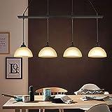 CBJKTX Lámpara de techo colgante vintage, color negro, mesa de comedor, cristal y madera, E27, 4 focos, 90 cm de longitud, para dormitorio, comedor, salón, cocina, restaurante