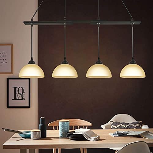 CBJKTX Lámpara de techo colgante vintage, color negro, mesa de comedor, cristal...