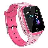 Relojes para Ninos GPS Tracker Inteligente- Smartwatch Niños GPS LBS Localizador SOS Voz Chat Cámara Pantalla Táctil HD Niño Niña Reloj GPS Niñode 4-12 Años Compatible con iOS/Android (Rosa)