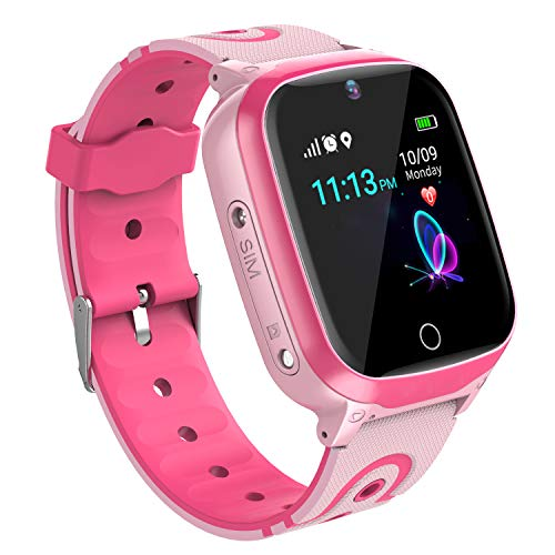 Kinder SmartWatch GPS Tracker - Kids Smart Watch Phone mit GPS LBS Tracker SOS Voice Chat Kamera HD Touchscreen für Jungen Mädchen 4-12 Y Kids Phone Watch Kompatibel mit iOS Android (Pink)