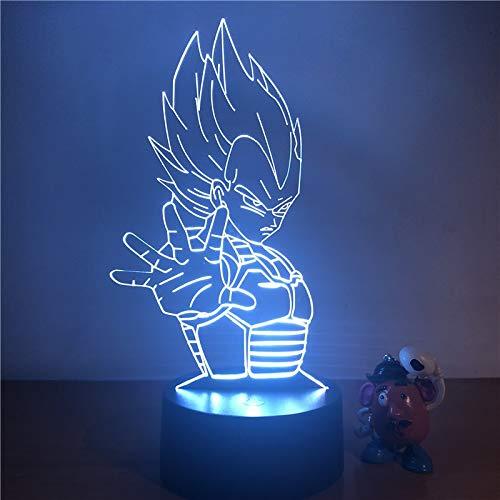 Luz Nocturna Dragon Ball Z vegano Super Saiyano 3D