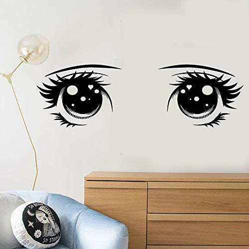 Cartoon kawaii Anime Mädchen große Augen Wandaufkleber Mädchen Zimmer Vinyl Aufkleber niedlichen niedlichen Salon Wohnkultur Wandaufkleber57x19 cm