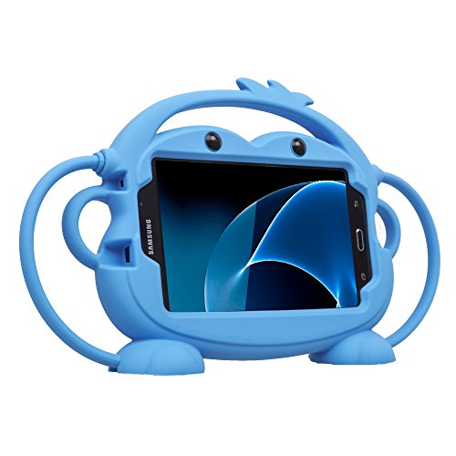 Kids Case for Samsung Galaxy Tab A/3/3 Lite/4/E Lite 7.0 inch Tablet - CHINFAI [Double-Faced Monkey Series] Shock Proof Silicone Handle Stand Protective Cover for Samsung 7' Tablet (Blue)