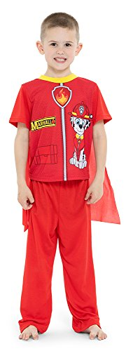 Paw Patrol Boys' Toddler Marshall 2-Piece Uniform Set with Cape, fire red, 4T