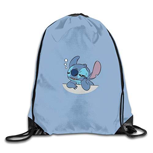 Etryrt Sleeping Stitch Turnbeutel Sporttaschen Drucken Schultertaschen Sackpack Sport Gym Backpack Storage Bag