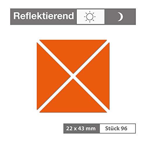 Reflektierende Aufkleber als Dreick (90 Stück, 22x43 mm, orange) - selbstklebend und wetterfest - für Garagen, Einfahrten, Schulranzen, Zäune, Fahrräder, Motorräder - Reflexfolie Reflektorfolie
