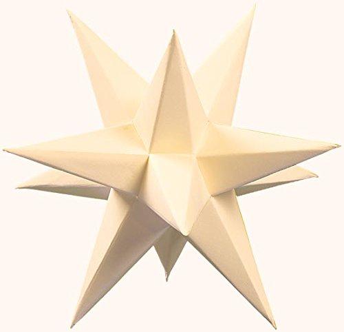Marienberger Adventssterne 3-Sterne-Set aus Papier, elektrisch beleuchtet, inklusive Elektrik creme, Ø 15 cm NEU Papierstern