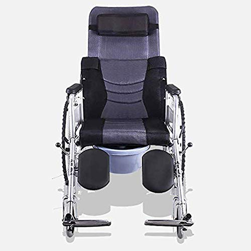 AOLI Wheelchair Self-Propelled Tires, Fold Light Lying Multifunctional Elderly/Disabled with Toilet High Back Trolley Scooter