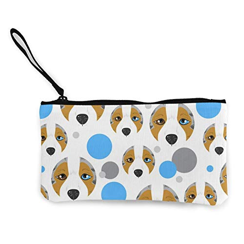 Akita - Monedero de lona con cremallera, bolsa de cosméticos de viaje, multifunción, bolsa de maquillaje, bolsa de teléfono móvil, paquete de lápices con asa