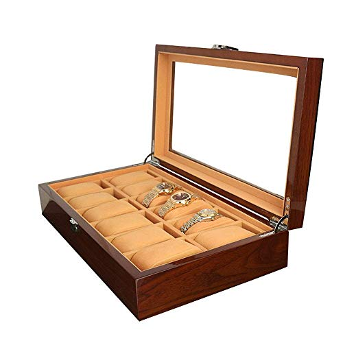 DXX-HR Watch Display Storage Box Wooden Sunroof Watch Box Painted Wooden Box Jewelry Bracelet Bracelet Storage Box (Color : Black, Size : S) (Color : Black)