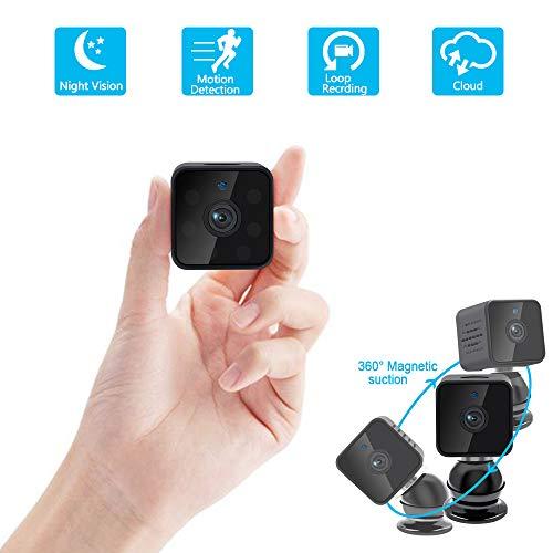 Mini Cámara WiFi UYIKOO HD 1080P Espía Cámara Oculta WiFi 160 Grado para la Seguridad del Hogar Cámara de Niñera con Detección de Movimiento y Soporte de Visión Nocturna App Monitoreo en Tiempo Real